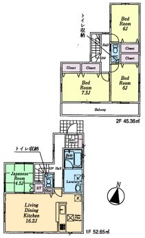 居室4部屋の4LDKです。南向きリビングです。収納充実。