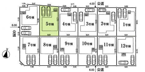 敷地面積126.62平米。カースペース2台並列駐車可能。