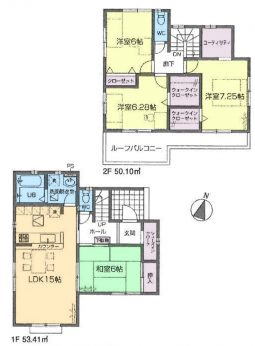 居室4部屋の4LDKです。全居室6帖以上あります。