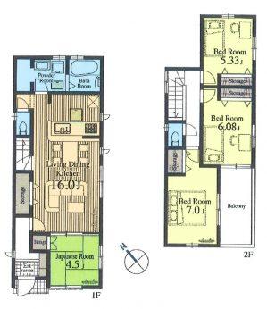 居室4部屋の4LDKです。家族の会話が自然と増えるリビング階段を採用。自然と家族が顔を合わせる間取りなのは嬉しいですね。