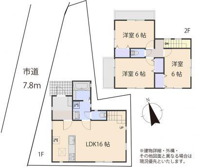 居室3部屋の3LDKです。キッチンと洗面脱衣所、浴室が近く、家事動線が考えられた間取りです。全居室お手入れのしやすい洋室です。2面採光で陽当たり通風良好です。