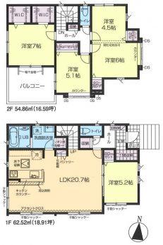 全居室洋室の4LDKタイプです。ベッドやソファーなど重い家具が置きやすいので、自分が過ごしやすいお部屋をコーディネートできますね。
