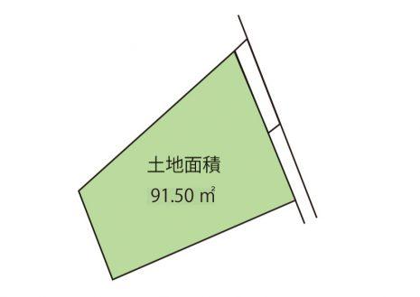 敷地面積91.50平米です。前面道路は東側4mです。