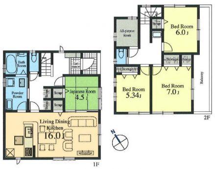 居室4部屋の4LDKです。テレワークなどフレキシブルに活用できる多目的ルーム付き。
