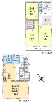 居室3部屋の3LDKです。全居室お手入れのしやすい洋室です。